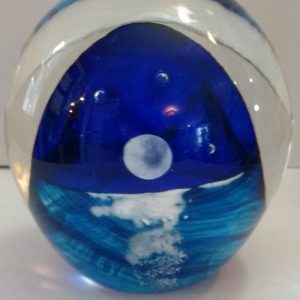 Moon, reflection on water, blown glass paperweight