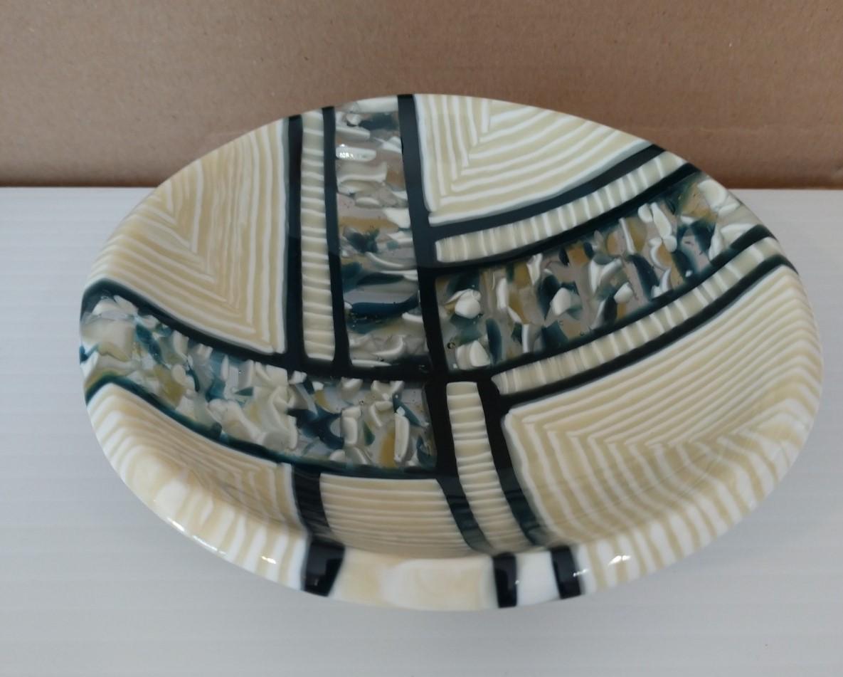 Fused Glass Plate Black White Grand Isle Art Works